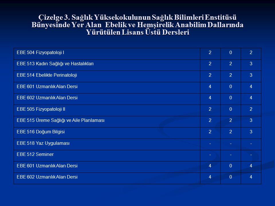 Çizelge 3. Sağlık Yüksekokulunun Sağlık Bilimleri Enstitüsü Bünyesinde Yer Alan Ebelik ve Hemşirelik Anabilim Dallarında Yürütülen Lisans Üstü Dersler