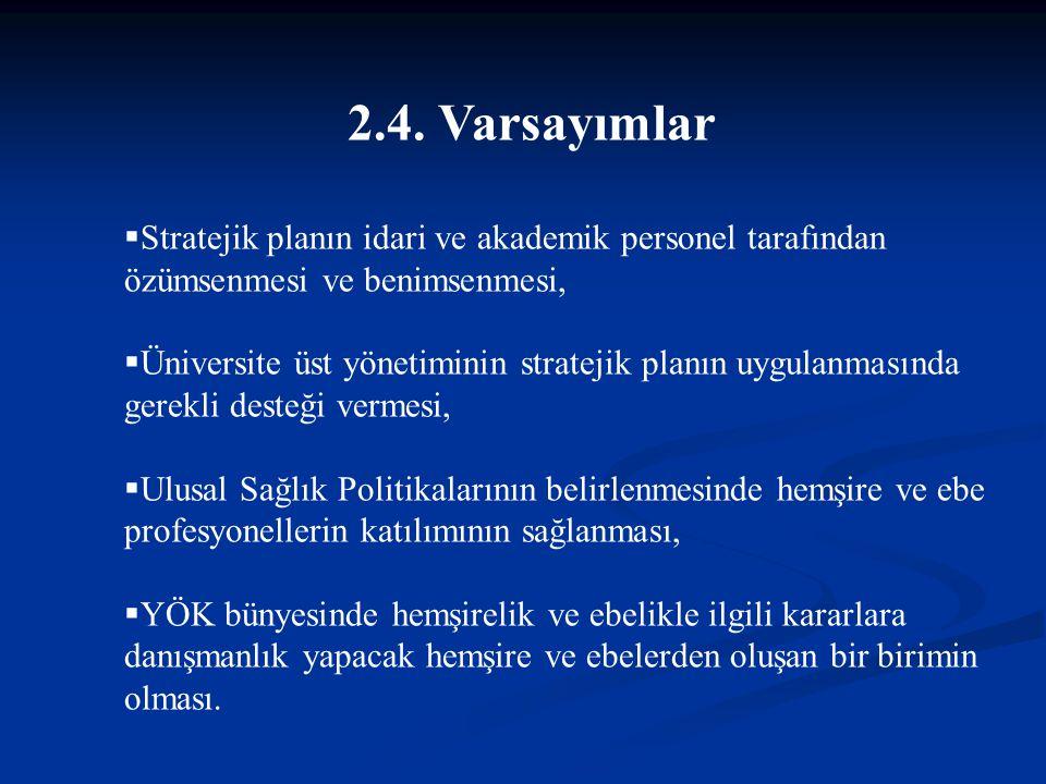 2.4. Varsayımlar  Stratejik planın idari ve akademik personel tarafından özümsenmesi ve benimsenmesi,  Üniversite üst yönetiminin stratejik planın u