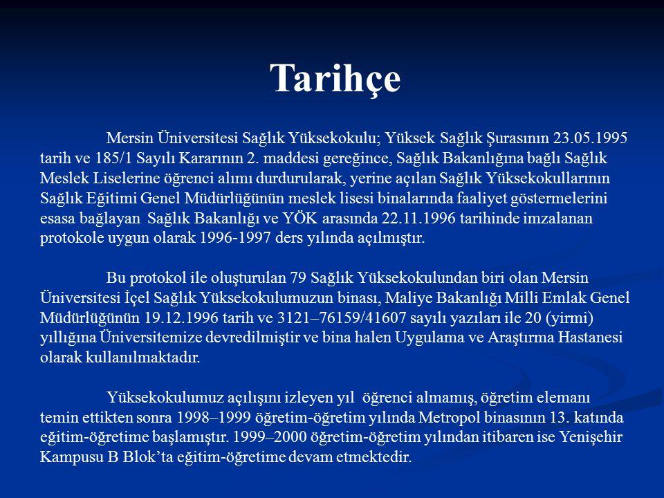 Tarihçe Mersin Üniversitesi Sağlık Yüksekokulu; Yüksek Sağlık Şurasının 23.05.1995 tarih ve 185/1 Sayılı Kararının 2. maddesi gereğince, Sağlık Bakanl