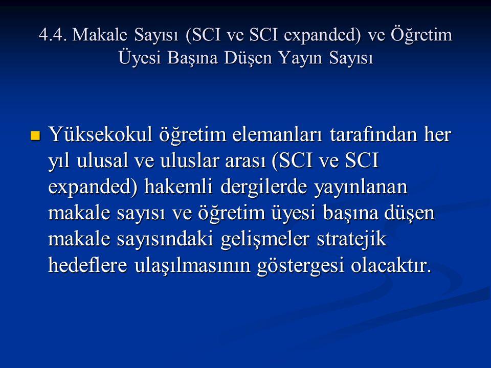4.4. Makale Sayısı (SCI ve SCI expanded) ve Öğretim Üyesi Başına Düşen Yayın Sayısı Yüksekokul öğretim elemanları tarafından her yıl ulusal ve uluslar