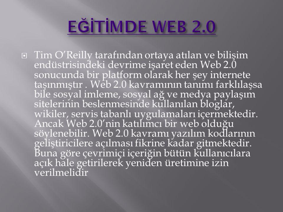 Tim O'Reilly tarafından ortaya atılan ve bilişim endüstrisindeki devrime işaret eden Web 2.0 sonucunda bir platform olarak her şey internete taşınmıştır.