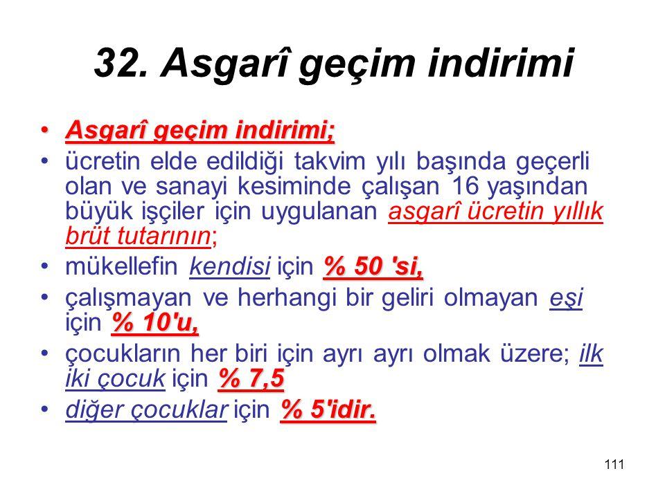 111 32. Asgarî geçim indirimi Asgarî geçim indirimi;Asgarî geçim indirimi; ücretin elde edildiği takvim yılı başında geçerli olan ve sanayi kesiminde