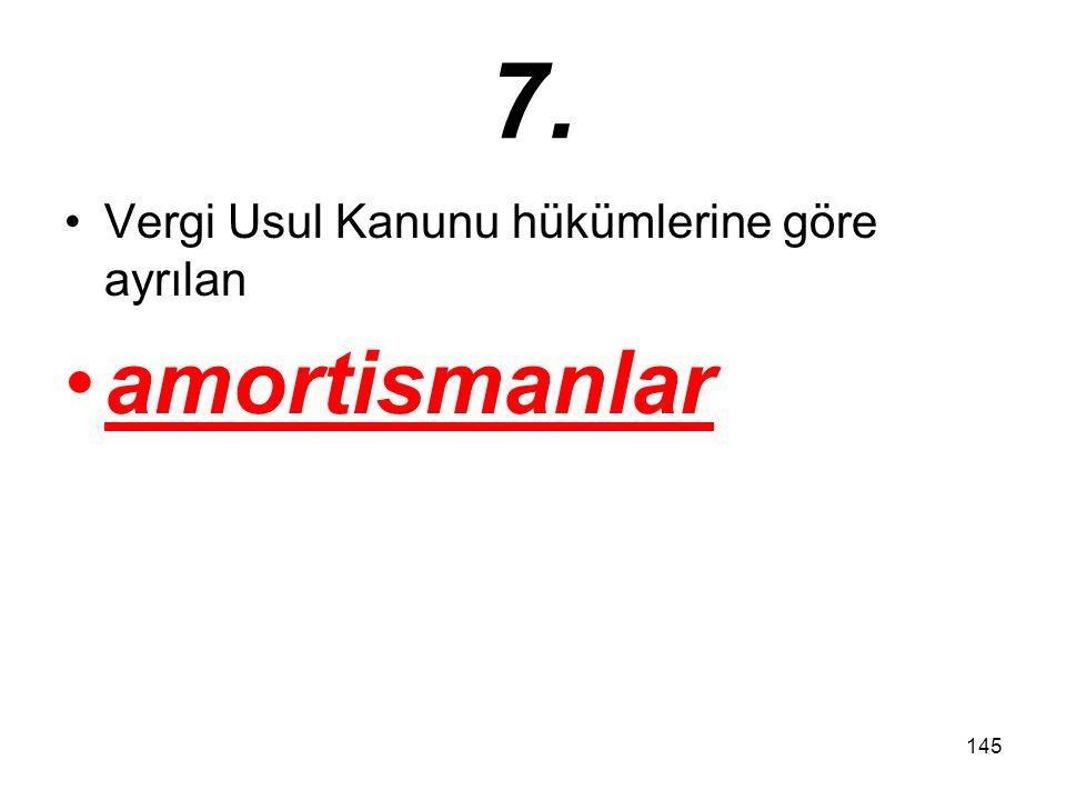 145 7. Vergi Usul Kanunu hükümlerine göre ayrılan amortismanlar