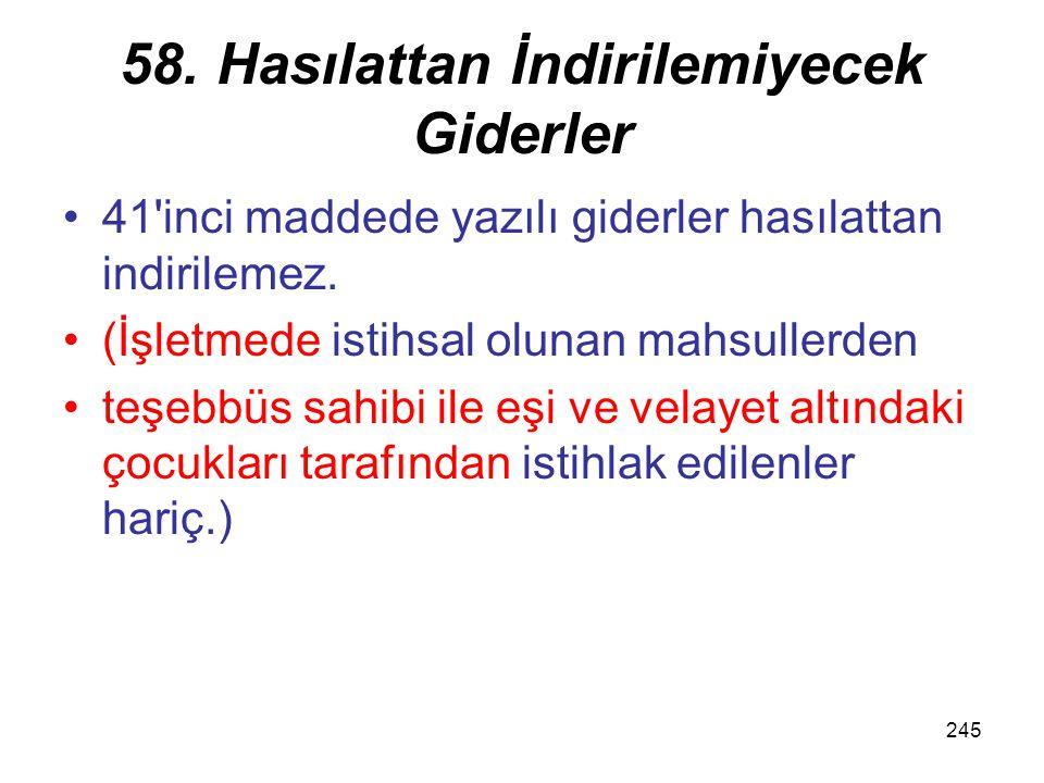 245 58. Hasılattan İndirilemiyecek Giderler 41'inci maddede yazılı giderler hasılattan indirilemez. (İşletmede istihsal olunan mahsullerden teşebbüs s
