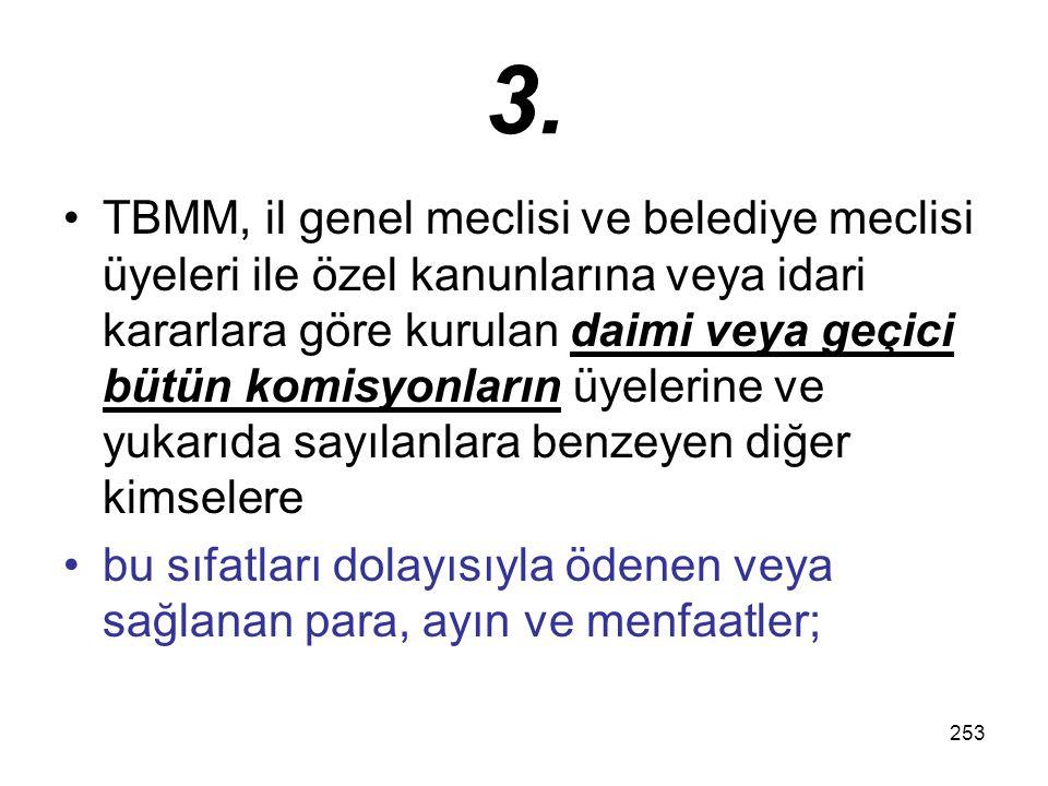 253 3. TBMM, il genel meclisi ve belediye meclisi üyeleri ile özel kanunlarına veya idari kararlara göre kurulan daimi veya geçici bütün komisyonların