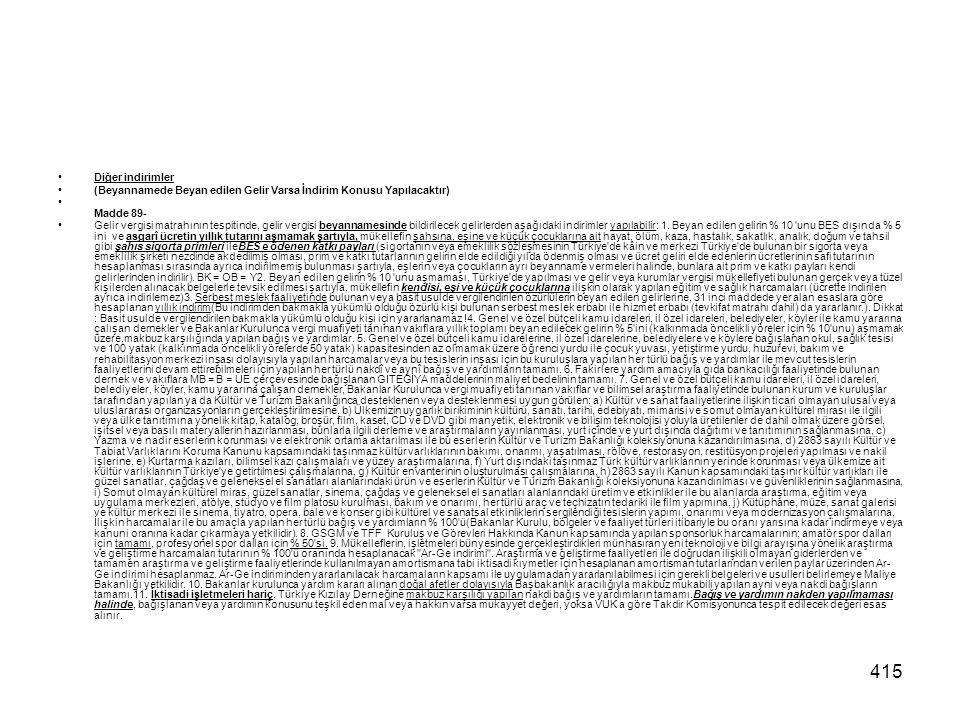 415 Diğer indirimler (Beyannamede Beyan edilen Gelir Varsa İndirim Konusu Yapılacaktır) Madde 89- Gelir vergisi matrahının tespitinde, gelir vergisi b