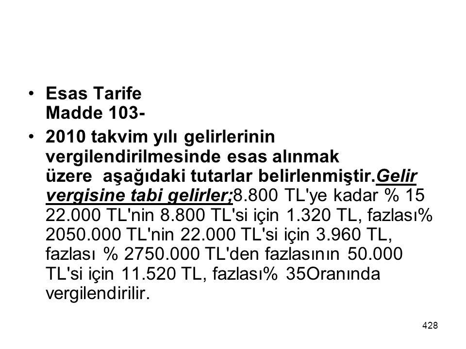 428 Esas Tarife Madde 103- 2010 takvim yılı gelirlerinin vergilendirilmesinde esas alınmak üzere aşağıdaki tutarlar belirlenmiştir.Gelir vergisine tab
