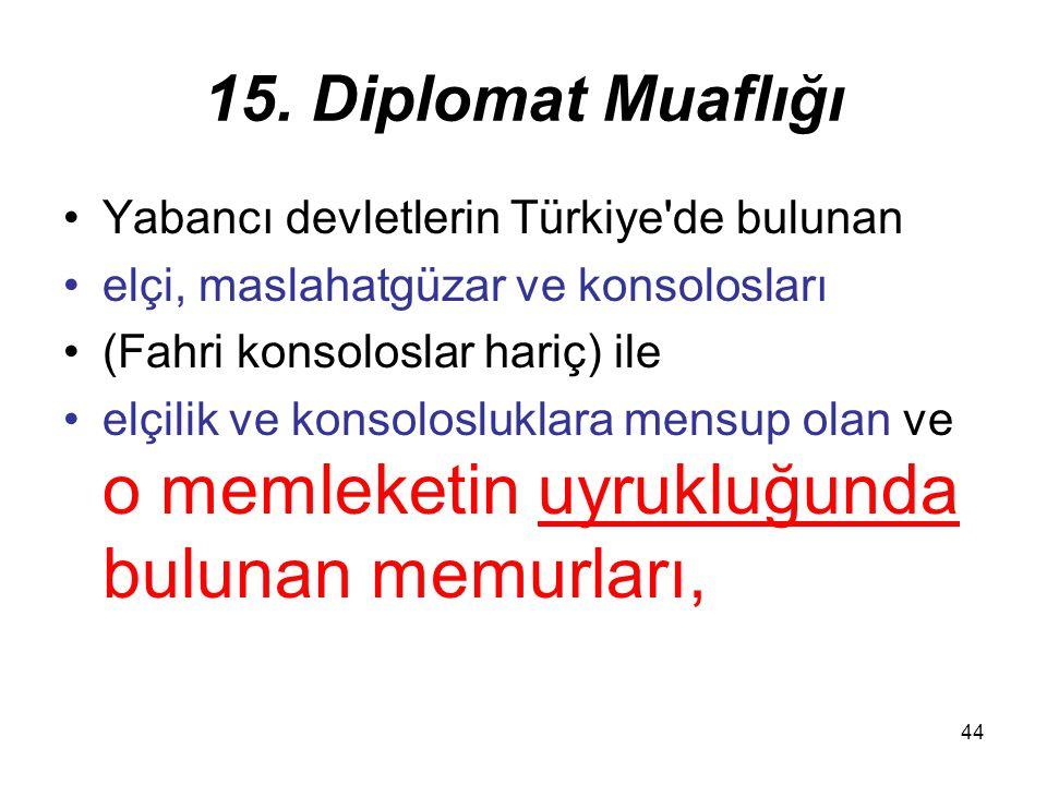 44 15. Diplomat Muaflığı Yabancı devletlerin Türkiye'de bulunan elçi, maslahatgüzar ve konsolosları (Fahri konsoloslar hariç) ile elçilik ve konsolosl