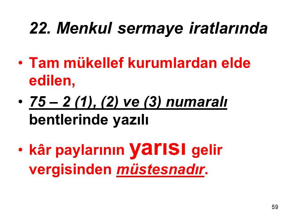 59 22. Menkul sermaye iratlarında Tam mükellef kurumlardan elde edilen, 75 – 2 (1), (2) ve (3) numaralı bentlerinde yazılı kâr paylarının yarısı gelir