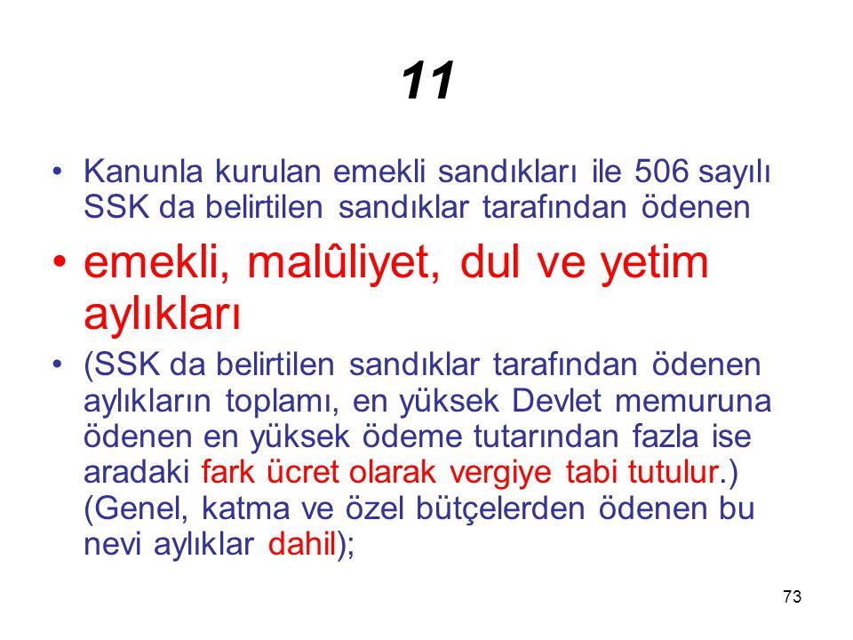 73 11 Kanunla kurulan emekli sandıkları ile 506 sayılı SSK da belirtilen sandıklar tarafından ödenen emekli, malûliyet, dul ve yetim aylıkları (SSK da