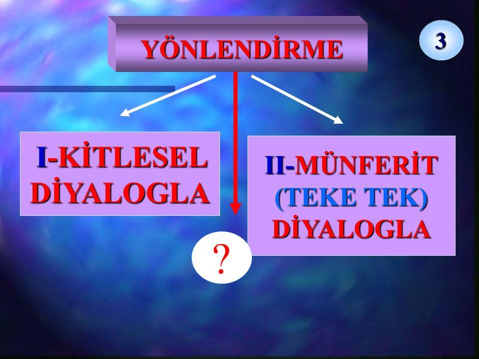 YÖNLENDİRME 3 II-MÜNFERİT (TEKE TEK) DİYALOGLA I-KİTLESEL DİYALOGLA ?