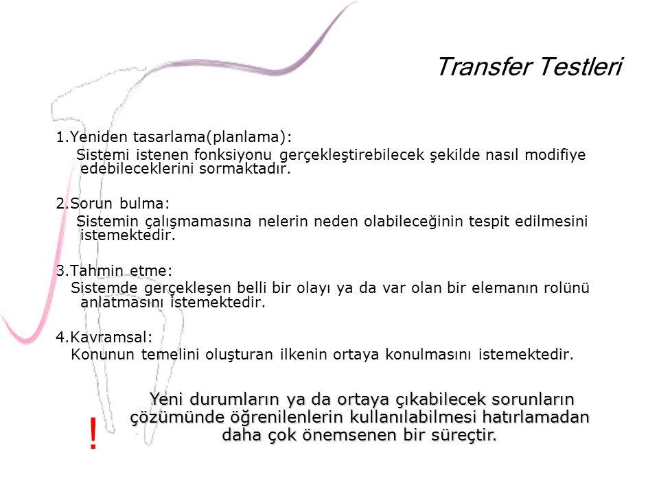 Transfer Testleri 1.Yeniden tasarlama(planlama): Sistemi istenen fonksiyonu gerçekleştirebilecek şekilde nasıl modifiye edebileceklerini sormaktadır.