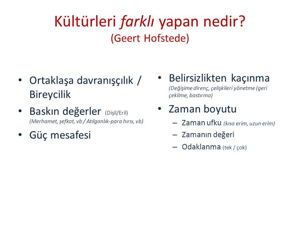 Kültürel boyutlar: Türkiye Ortaklaşma davranışı Dişil değerler Güç mesafesi fazla Belirsizlikten kaçınma Çelişkiden ve yarışmadan kaçınma/bastırma Bireylerin denetim noktası dışarıda Zaman ufku kısa Eylemcilik edilgen.