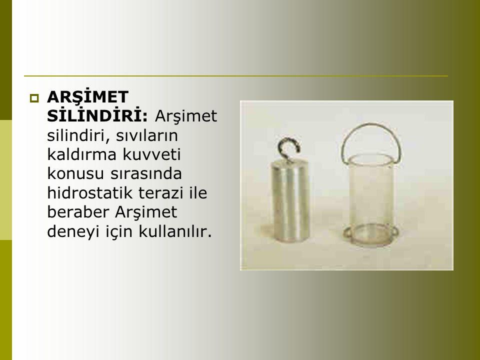  ARŞİMET SİLİNDİRİ: Arşimet silindiri, sıvıların kaldırma kuvveti konusu sırasında hidrostatik terazi ile beraber Arşimet deneyi için kullanılır.