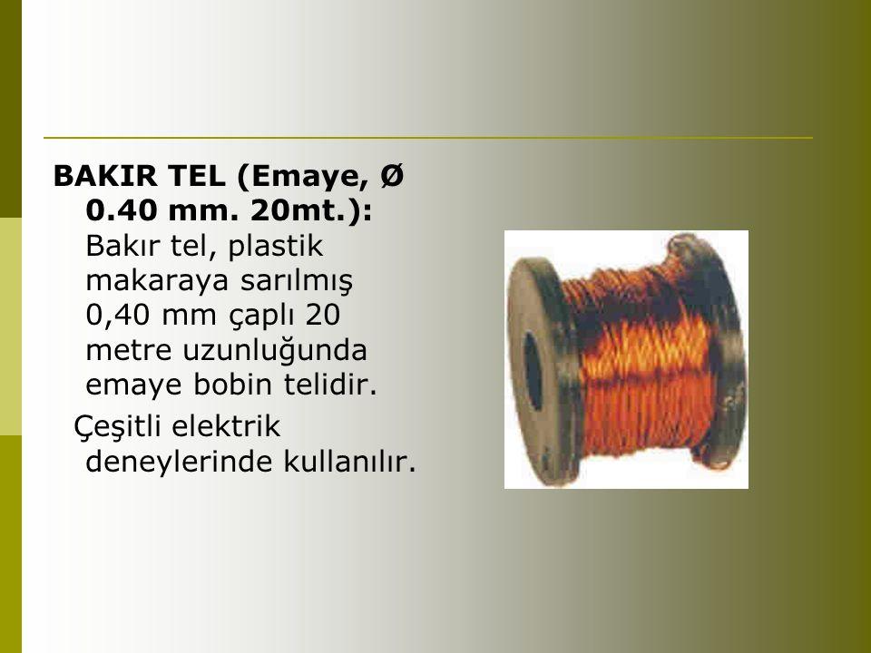 BAKIR TEL (Emaye, Ø 0.40 mm. 20mt.): Bakır tel, plastik makaraya sarılmış 0,40 mm çaplı 20 metre uzunluğunda emaye bobin telidir. Çeşitli elektrik den