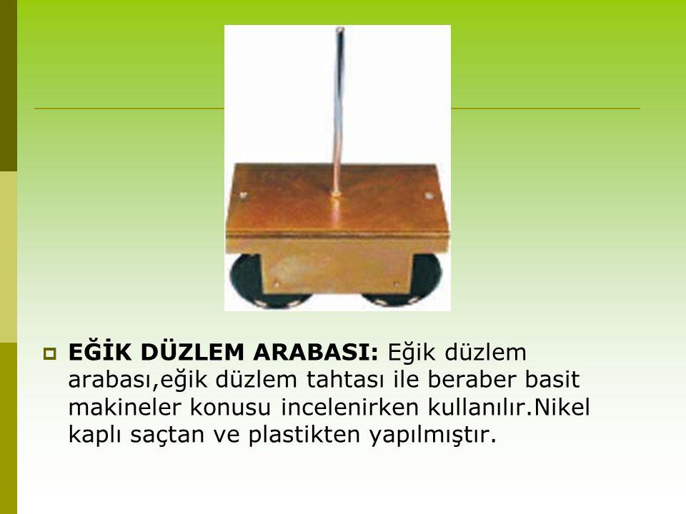  EĞİK DÜZLEM ARABASI: Eğik düzlem arabası,eğik düzlem tahtası ile beraber basit makineler konusu incelenirken kullanılır.Nikel kaplı saçtan ve plasti