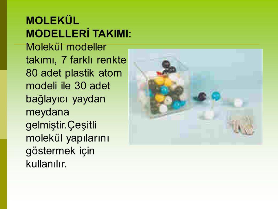 MOLEKÜL MODELLERİ TAKIMI: Molekül modeller takımı, 7 farklı renkte 80 adet plastik atom modeli ile 30 adet bağlayıcı yaydan meydana gelmiştir.Çeşitli