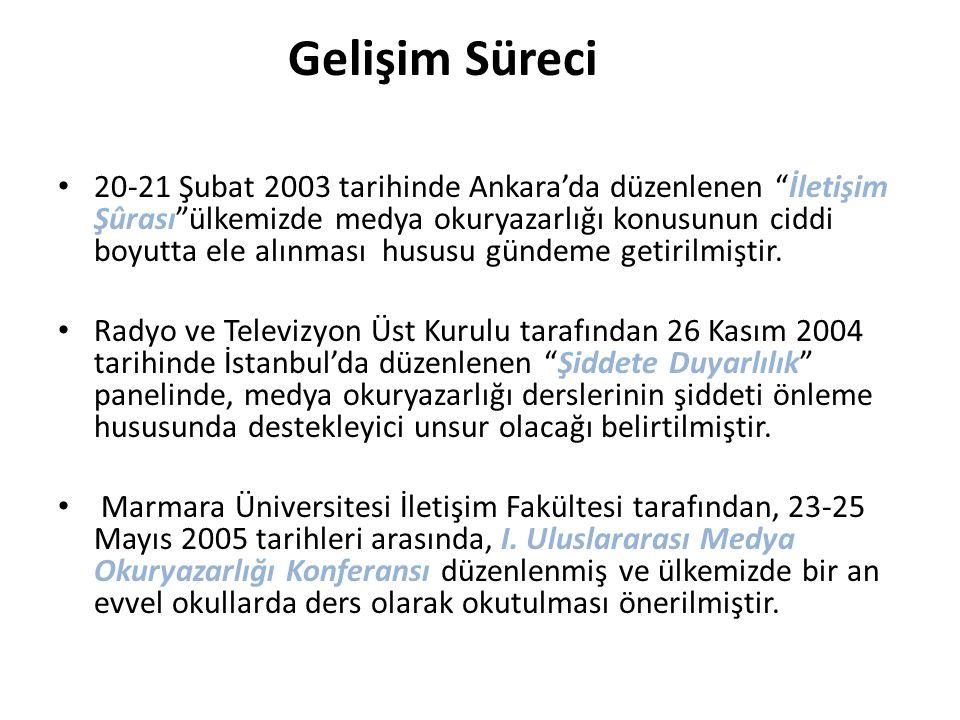 """Gelişim Süreci 20-21 Şubat 2003 tarihinde Ankara'da düzenlenen """"İletişim Şûrası""""ülkemizde medya okuryazarlığı konusunun ciddi boyutta ele alınması hus"""