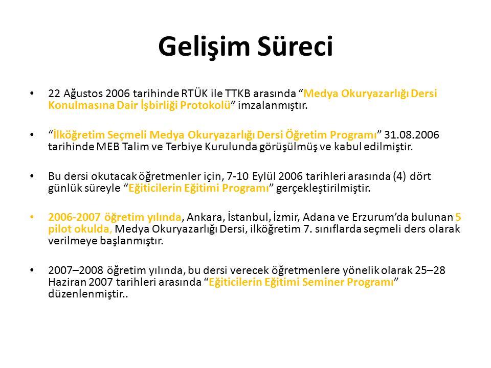 """Gelişim Süreci 22 Ağustos 2006 tarihinde RTÜK ile TTKB arasında """"Medya Okuryazarlığı Dersi Konulmasına Dair İşbirliği Protokolü"""" imzalanmıştır. """"İlköğ"""