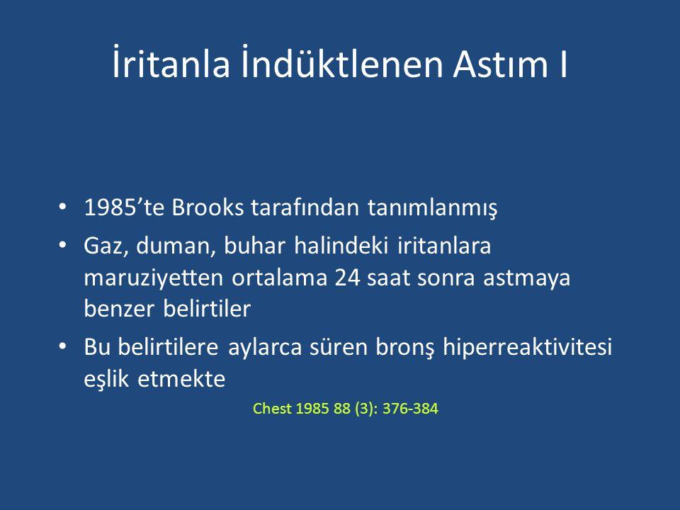 İritanla İndüktlenen Astım I 1985'te Brooks tarafından tanımlanmış Gaz, duman, buhar halindeki iritanlara maruziyetten ortalama 24 saat sonra astmaya