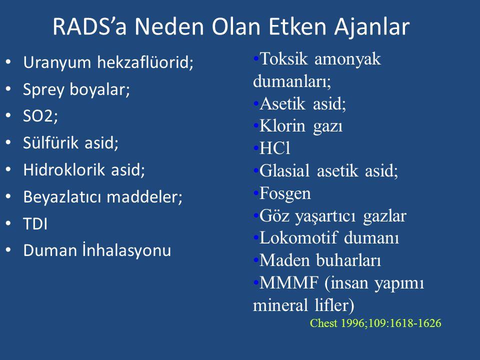 RADS'a Neden Olan Etken Ajanlar Uranyum hekzaflüorid; Sprey boyalar; SO2; Sülfürik asid; Hidroklorik asid; Beyazlatıcı maddeler; TDI Duman İnhalasyonu