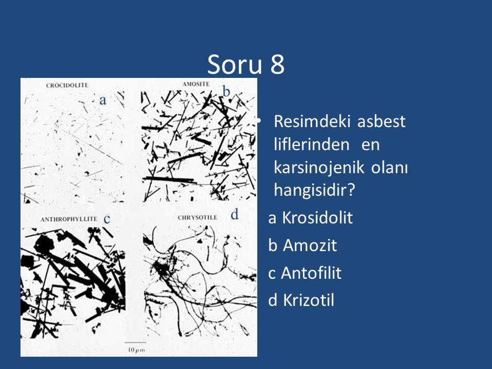 Soru 8 Resimdeki asbest liflerinden en karsinojenik olanı hangisidir? a Krosidolit b Amozit c Antofilit d Krizotil a b b b b b b aa a c d
