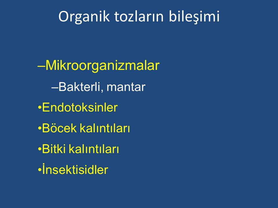 Organik tozların bileşimi –Mikroorganizmalar –Bakterli, mantar Endotoksinler Böcek kalıntıları Bitki kalıntıları İnsektisidler
