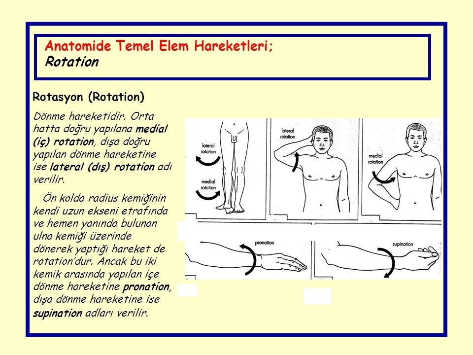 Anatomide Temel Elem Hareketleri; Rotation Rotasyon (Rotation) Dönme hareketidir. Orta hatta doğru yapılana medial (iç) rotation, dışa doğru yapılan d