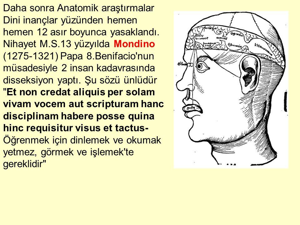 Daha sonra Anatomik araştırmalar Dini inançlar yüzünden hemen hemen 12 asır boyunca yasaklandı. Nihayet M.S.13 yüzyılda Mondino (1275-1321) Papa 8.Ben