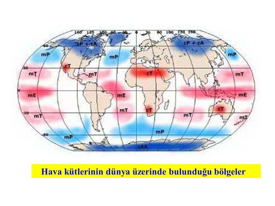Hava kütlelerinin dünya üzerinde bulunduğu bölgeler aşağıda Şekil 1'de gösterilmiştir. Hava kütlerinin dünya üzerinde bulunduğu bölgeler