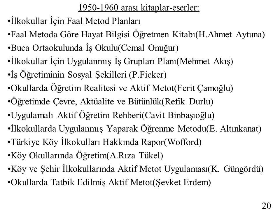 1950-1960 arası kitaplar-eserler: İlkokullar İçin Faal Metod Planları Faal Metoda Göre Hayat Bilgisi Öğretmen Kitabı(H.Ahmet Aytuna) Buca Ortaokulunda İş Okulu(Cemal Onuğur) İlkokullar İçin Uygulanmış İş Grupları Planı(Mehmet Akış) İş Öğretiminin Sosyal Şekilleri (P.Ficker) Okullarda Öğretim Realitesi ve Aktif Metot(Ferit Çamoğlu) Öğretimde Çevre, Aktüalite ve Bütünlük(Refik Durlu) Uygulamalı Aktif Öğretim Rehberi(Cavit Binbaşıoğlu) İlkokullarda Uygulanmış Yaparak Öğrenme Metodu(E.