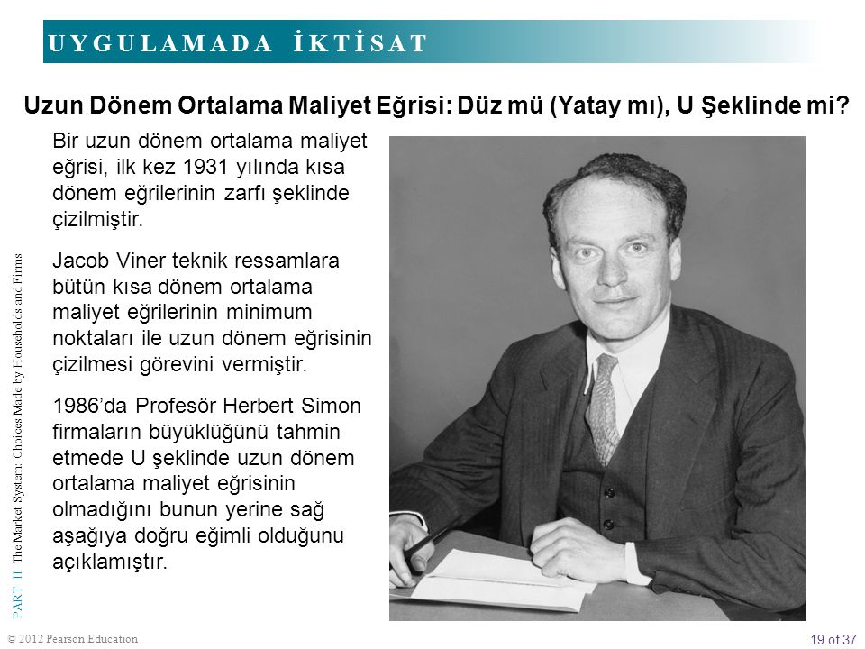 19 of 37 PART II The Market System: Choices Made by Households and Firms © 2012 Pearson Education Bir uzun dönem ortalama maliyet eğrisi, ilk kez 1931