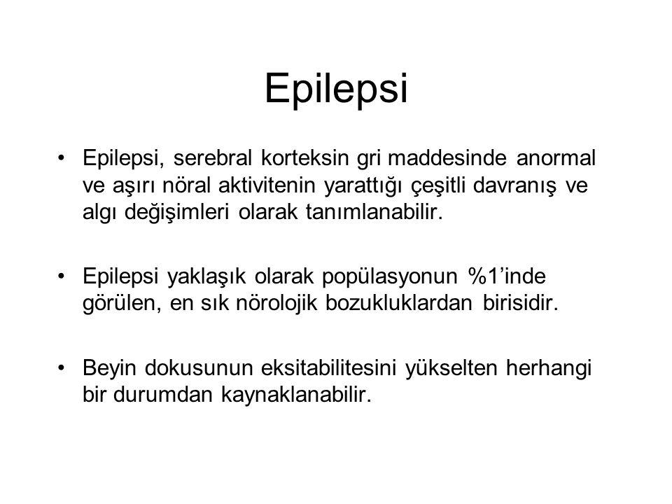Epilepsi Epilepsi, serebral korteksin gri maddesinde anormal ve aşırı nöral aktivitenin yarattığı çeşitli davranış ve algı değişimleri olarak tanımlanabilir.