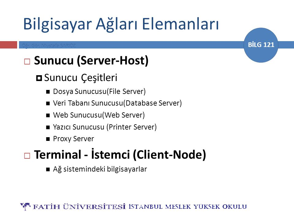 BİLG 121 Bilgisayar Ağları Elemanları  Sunucu (Server-Host)  Sunucu Çeşitleri Dosya Sunucusu(File Server) Veri Tabanı Sunucusu(Database Server) Web