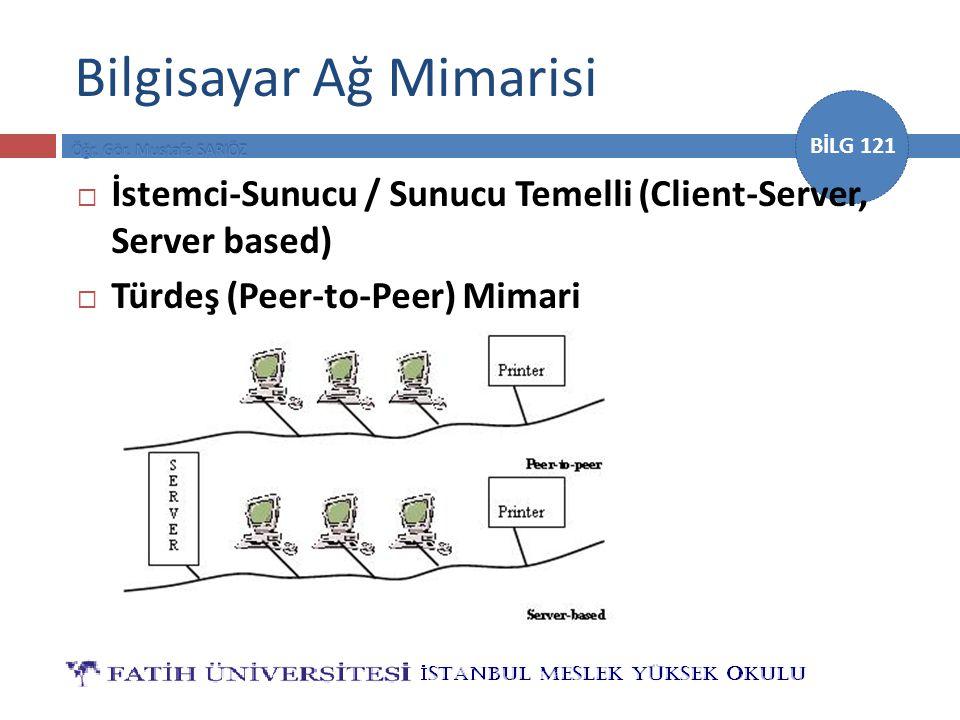 BİLG 121 Bilgisayar Ağ Mimarisi  İstemci-Sunucu / Sunucu Temelli (Client-Server, Server based)  Türdeş (Peer-to-Peer) Mimari