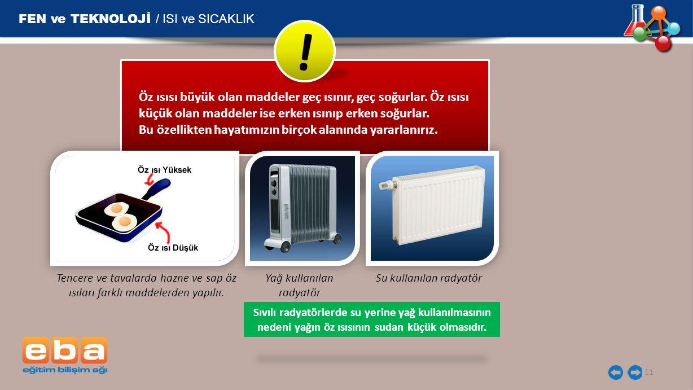 FEN ve TEKNOLOJİ / ISI ve SICAKLIK 11 Tencere ve tavalarda hazne ve sap öz ısıları farklı maddelerden yapılır.