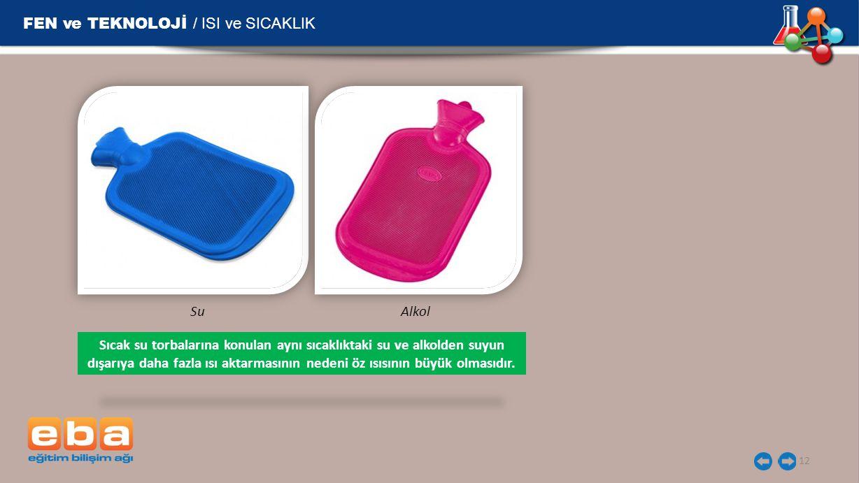 FEN ve TEKNOLOJİ / ISI ve SICAKLIK 12 SuAlkol Sıcak su torbalarına konulan aynı sıcaklıktaki su ve alkolden suyun dışarıya daha fazla ısı aktarmasının nedeni öz ısısının büyük olmasıdır.