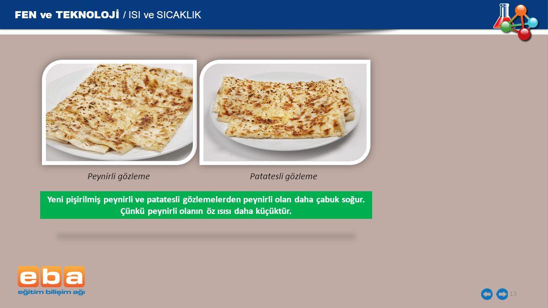 FEN ve TEKNOLOJİ / ISI ve SICAKLIK 13 Peynirli gözlemePatatesli gözleme Yeni pişirilmiş peynirli ve patatesli gözlemelerden peynirli olan daha çabuk soğur.