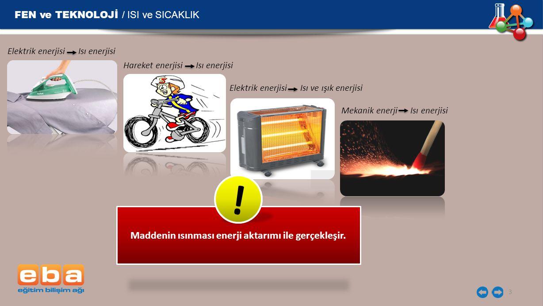 FEN ve TEKNOLOJİ / ISI ve SICAKLIK 3 Elektrik enerjisi Isı enerjisi Hareket enerjisi Isı enerjisi Elektrik enerjisi Isı ve ışık enerjisi Mekanik enerji Isı enerjisi Maddenin ısınması enerji aktarımı ile gerçekleşir.