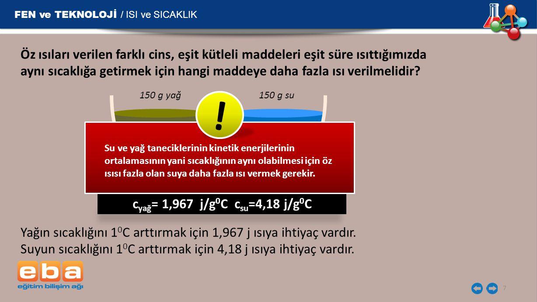 FEN ve TEKNOLOJİ / ISI ve SICAKLIK 7 Öz ısıları verilen farklı cins, eşit kütleli maddeleri eşit süre ısıttığımızda aynı sıcaklığa getirmek için hangi maddeye daha fazla ısı verilmelidir.