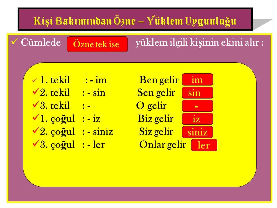 Cümlede yüklem ilgili ki ş inin ekini alır : K i ş i B akımından Ö zne – Y üklem U ygunlu ğ u Özne tek ise 1.
