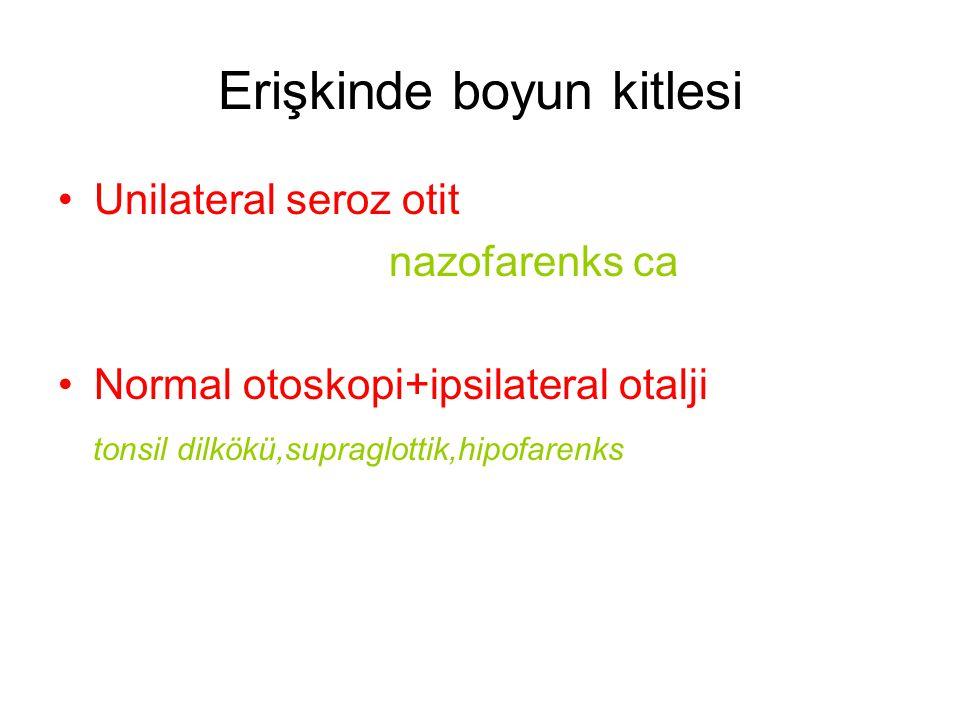 Erişkinde boyun kitlesi Unilateral seroz otit nazofarenks ca Normal otoskopi+ipsilateral otalji tonsil dilkökü,supraglottik,hipofarenks