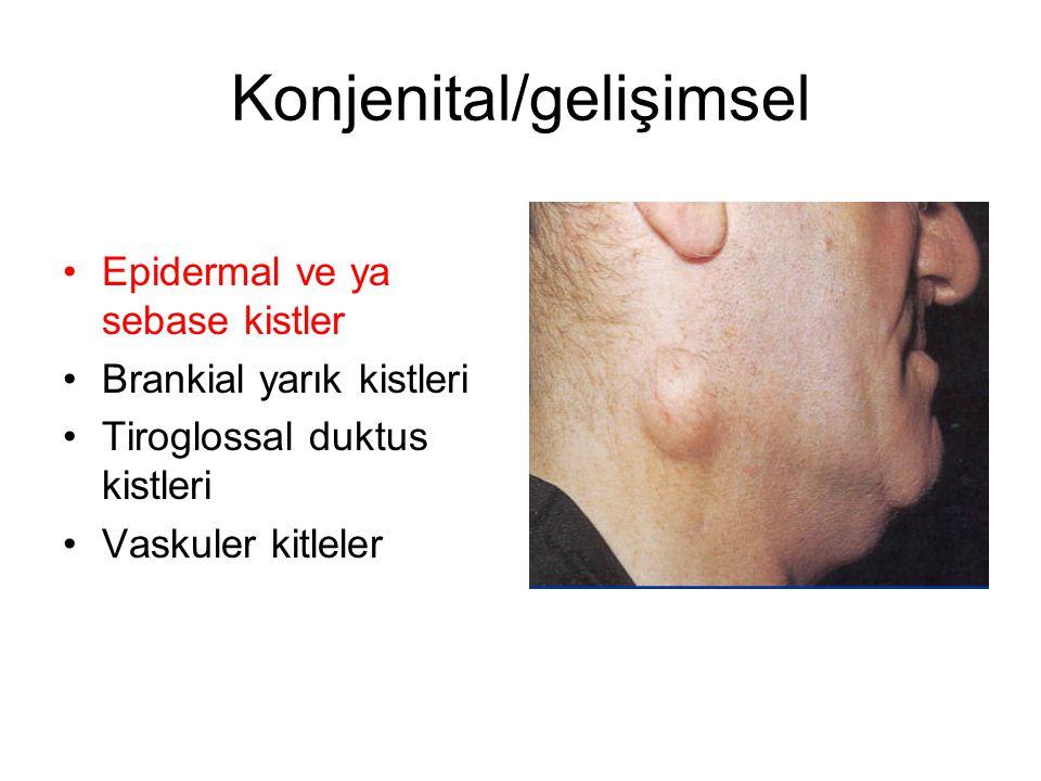 Konjenital/gelişimsel Epidermal ve ya sebase kistler Brankial yarık kistleri Tiroglossal duktus kistleri Vaskuler kitleler