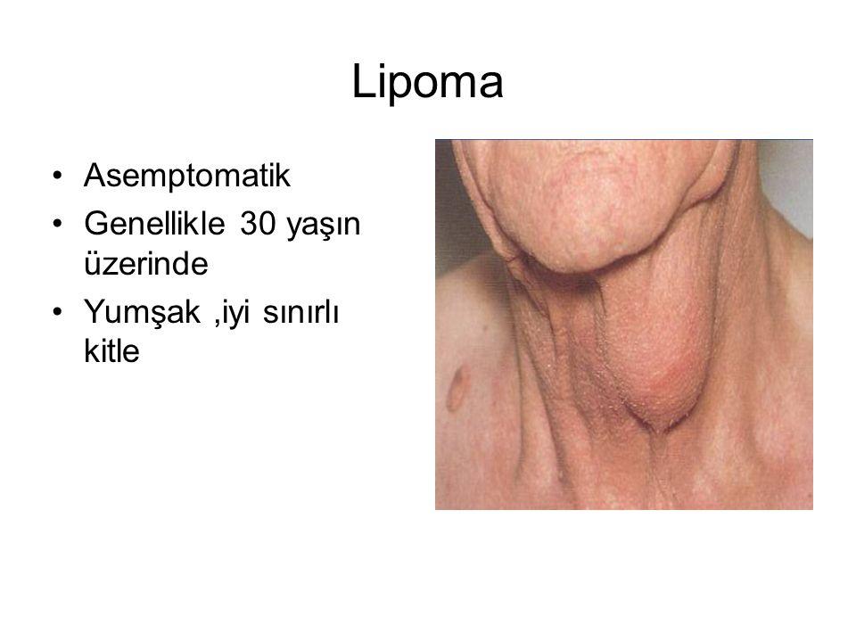 Lipoma Asemptomatik Genellikle 30 yaşın üzerinde Yumşak,iyi sınırlı kitle
