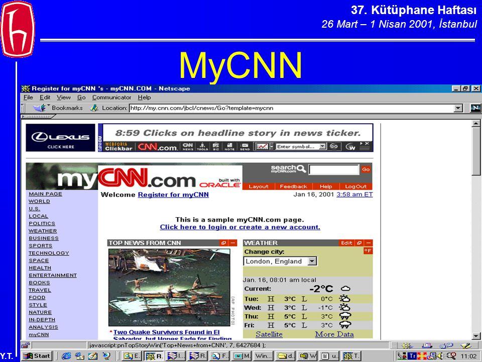37. Kütüphane Haftası 26 Mart – 1 Nisan 2001, İstanbul Y.T. MyCNN