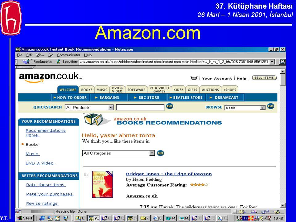 37. Kütüphane Haftası 26 Mart – 1 Nisan 2001, İstanbul Y.T. Amazon.com