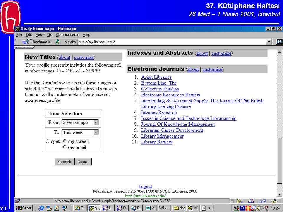 37. Kütüphane Haftası 26 Mart – 1 Nisan 2001, İstanbul Y.T.