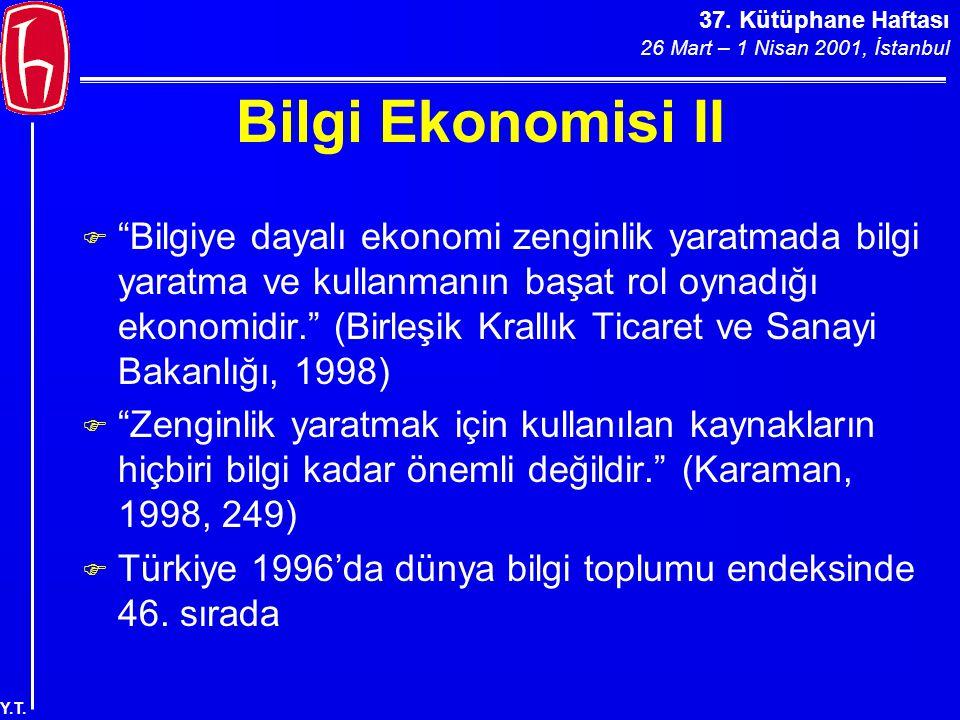37. Kütüphane Haftası 26 Mart – 1 Nisan 2001, İstanbul Y.T. My Yahoo!