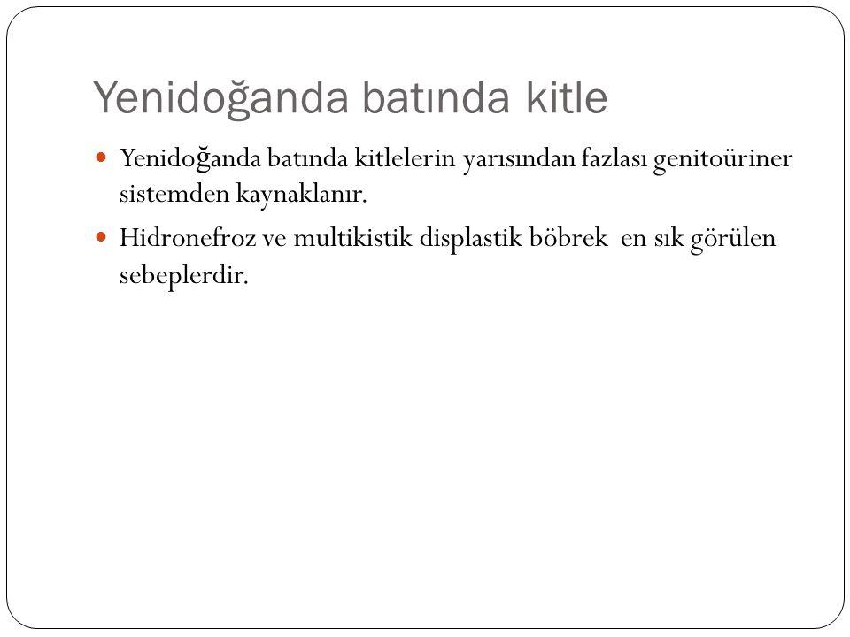 Yenidoğanda batında kitle Yenido ğ anda batında kitlelerin yarısından fazlası genitoüriner sistemden kaynaklanır. Hidronefroz ve multikistik displasti