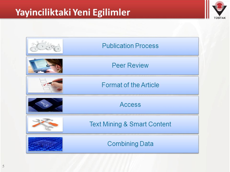 TÜBİTAK Yayinciliktaki Yeni Egilimler 5 Publication Process Peer Review Format of the Article Access Text Mining & Smart Content Combining Data